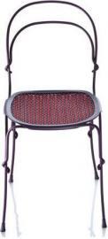 Krzesło Vigna rama fioletowa siedzisko czerwone