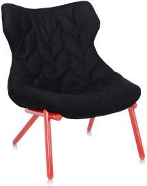 Fotel Foliage czerwona rama czarny poliester