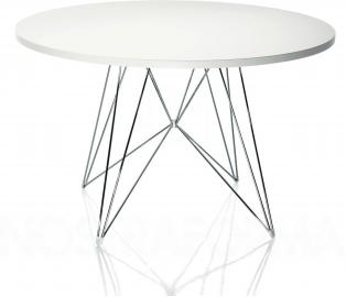 Stół XZ3 okrągły biały blat chromowana rama