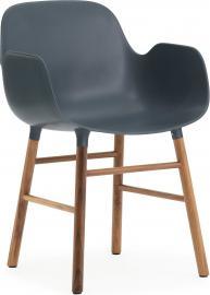 Fotel Form niebieski z orzechową ramą