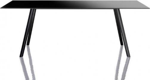 Stół Pilo prostokątny 160 x 85 cm czarne nogi czarny blat