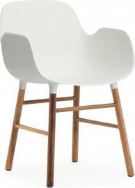 Fotel Form biały z orzechową ramą