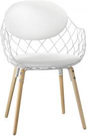 Krzesło Pina białe, materiał Steelcut 2, nogi jesion