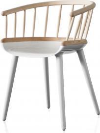 Krzesło Cyborg Stick biała rama dębowe oparcie