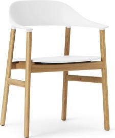 Krzesło z podłokietnikami Herit jasny dąb białe