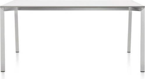 Stół Table_One 220 x 100 cm biały blat z polerowaną ramą