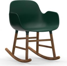 Fotel bujany Form drewno orzechowe zielony