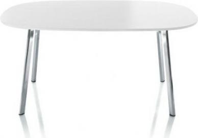 Stół owalny Deja-vu 160 x 98 cm biały blat z HPL 12 mm