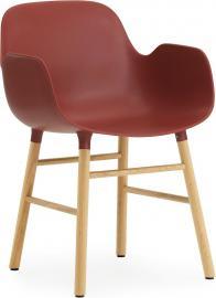 Fotel Form czerwony z dębową ramą