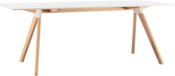 Stół Butch 180 x 90 rama w kolorze drewna blat biały