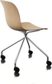 Krzesło Troy 4 star na kółkach sklejka chrom naturalny buk