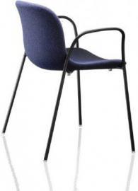 Krzesło Troy z podł. tapicerowane czarna rama niebieskie siedzisko