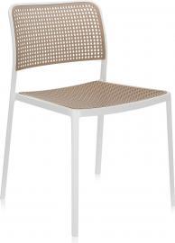 Krzesło Audrey biała rama piaskowe siedzisko