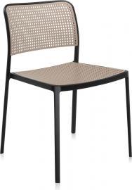 Krzesło Audrey czarna rama piaskowe siedzisko