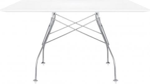 Stół Glossy z kwadratowym blatem laminowanym cynkowy biały