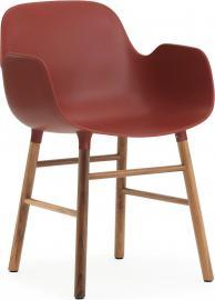 Fotel Form czerwony z orzechową ramą