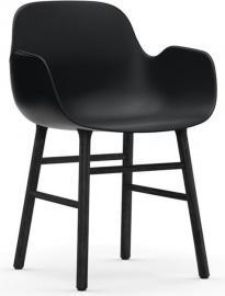 Fotel Form czarny z  czarną dębową ramą