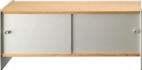 Szafka niska Theca 123 cm drewno aluminium wiśnia