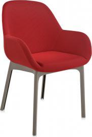 Fotel Clap taupe rama czerwone siedzisko