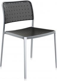Krzesło Audrey aluminiowa rama czarne siedzisko