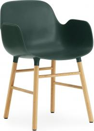 Fotel Form zielony z dębową ramą