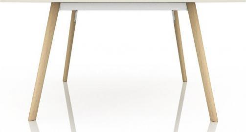 Stół Pilo kwadratowy naturalne nogi biały blat