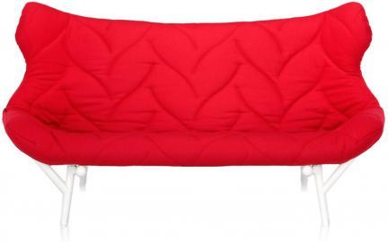 Sofa Foliage biała rama czerwony poliester