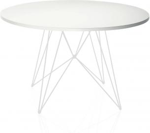 Stół XZ3 okrągły biały blat biała rama