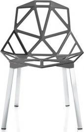 Krzesło Chair_One szary antracyt z polerowanymi anodyzowanymi nogami