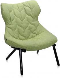 Fotel Foliage czarna rama zielona wełna