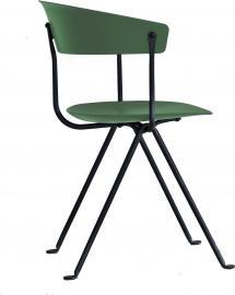 Krzesło Officina czarne nogi ciemnozielone siedzisko i oparcie