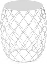 Stolik kawowy Pina biały z białym blatem z HPL