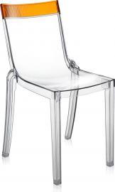 Krzesło Hi-Cut przezroczyste z pomarańczowym paskiem