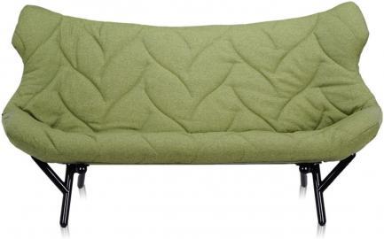 Sofa Foliage czarna rama zielona wełna
