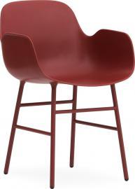 Fotel Form stalowe nogi czerwony