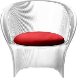 Fotel przezroczysty bezbarwny Flower czerwony materiał