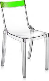 Krzesło Hi-Cut przezroczyste z zielonym paskiem