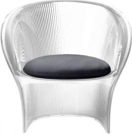 Fotel przezroczysty bezbarwny Flower czarny materiał