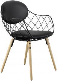 Krzesło Pina czarne, materiał skóra, nogi jesion