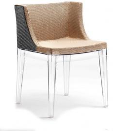 Krzesło Mademoiselle Kravitz rafia przeźroczysty korpus
