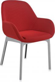 Fotel Clap szara rama czerwone siedzisko