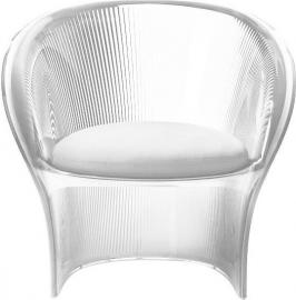 Fotel przezroczysty bezbarwny Flower biały materiał
