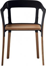 Krzesło Steelwood nogi i siedziskoorzech amerykański oparcie czarne