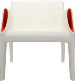 Krzesło Magic Hole białe z pomarańczowymi kieszeniami