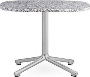 Stół Era owalny S nogi w kolorze srebrnym blat szary