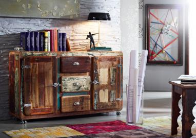 Sideboard Altholz 150x40x90 mehrfarbig lackiert FREEZY #07