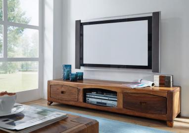 TV-Board Sheesham 160x43x33 braun lackiert ANCONA #107