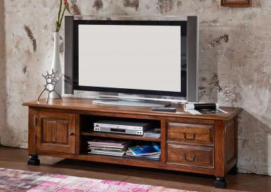 TV-Board Sheesham 175x50x52 schwarz lackiert BOSTON #207