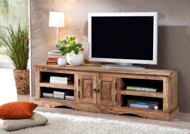 TV-Board Sheesham 150x45x45 grau geölt ROBIN #48