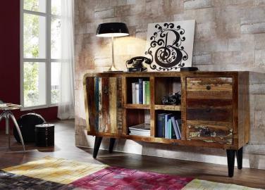Sideboard Altholz 150x40x86 mehrfarbig lackiert SIXTIES #101